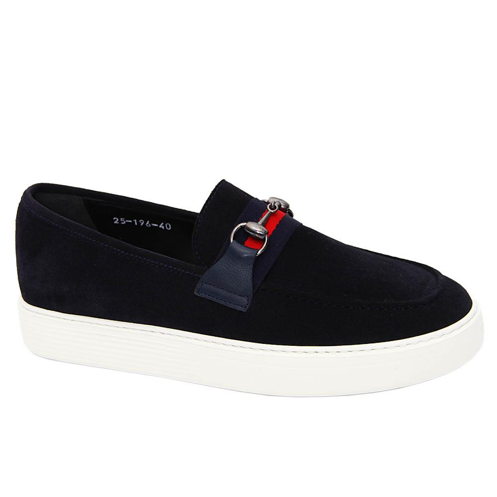 Navy Cipriano Suede Italian Leather Slip-On Sneakers