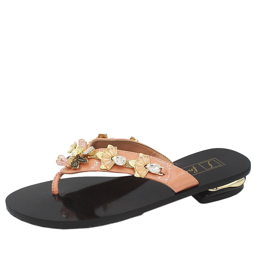 Peach Crystal Studded Low Heel Ladies Slippers - Sz 39