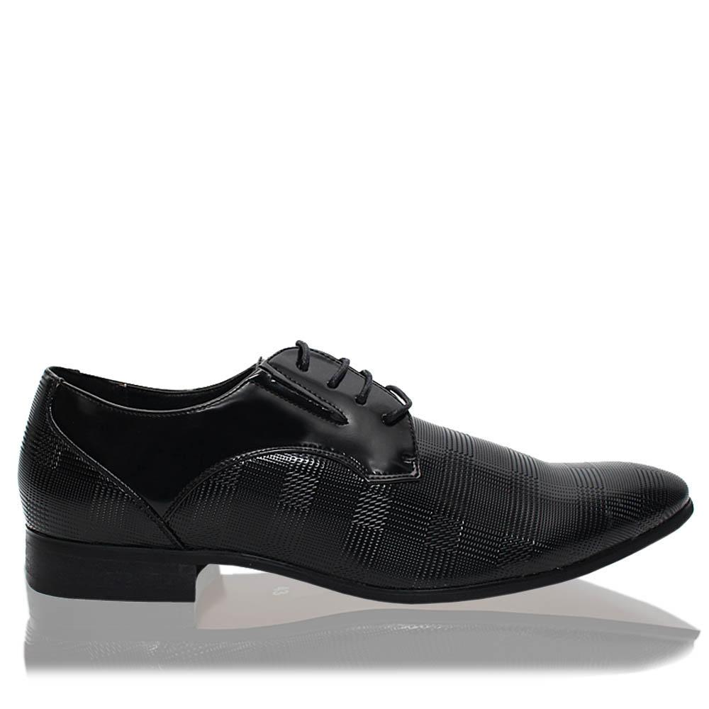 Black Clark Embossed Patent Leather Men Derby Shoes