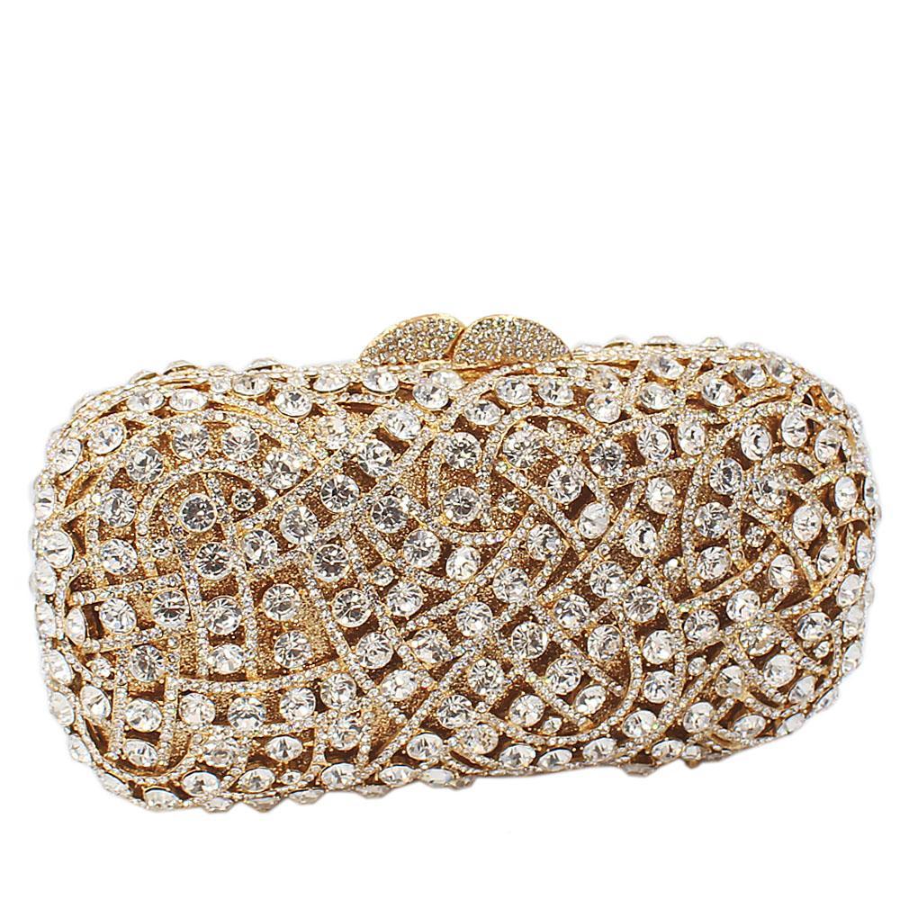 Gold Diamante Crystals Clutch Purse