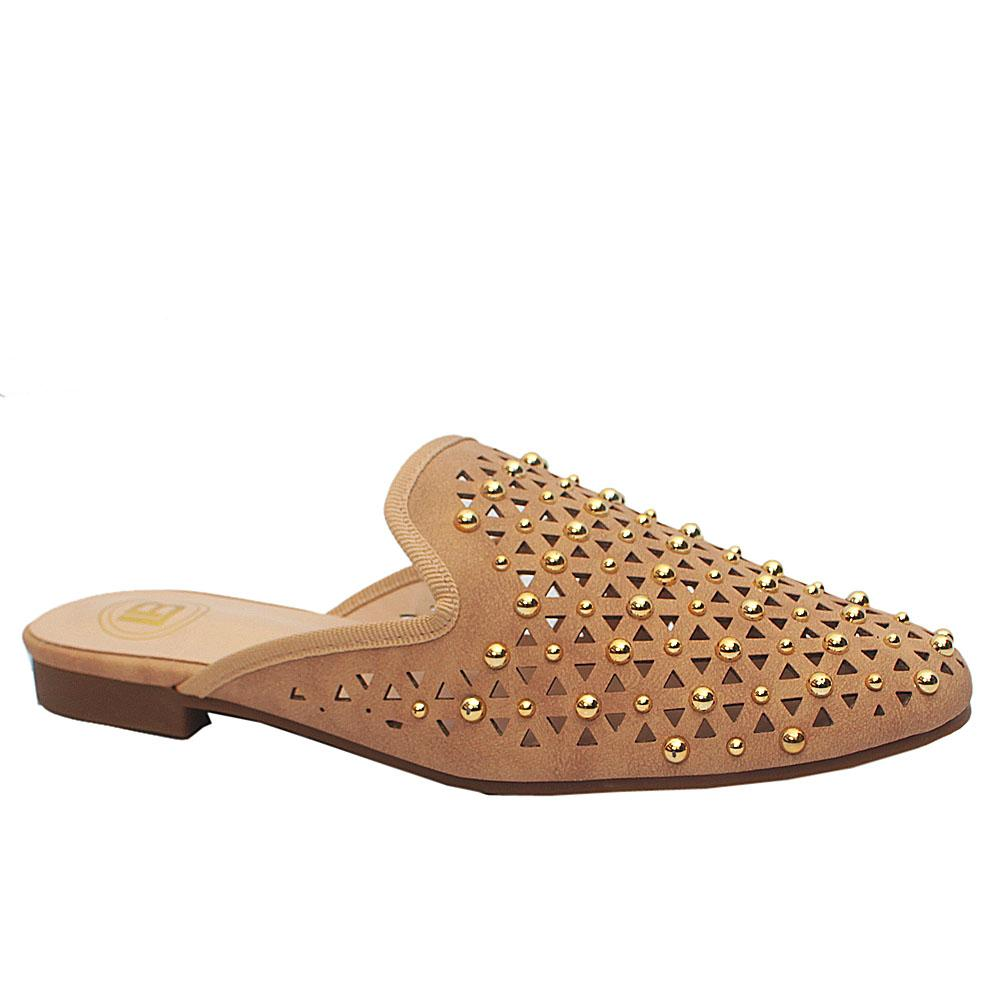 Beige Studded Leather Closed Toe Low Heel Mule