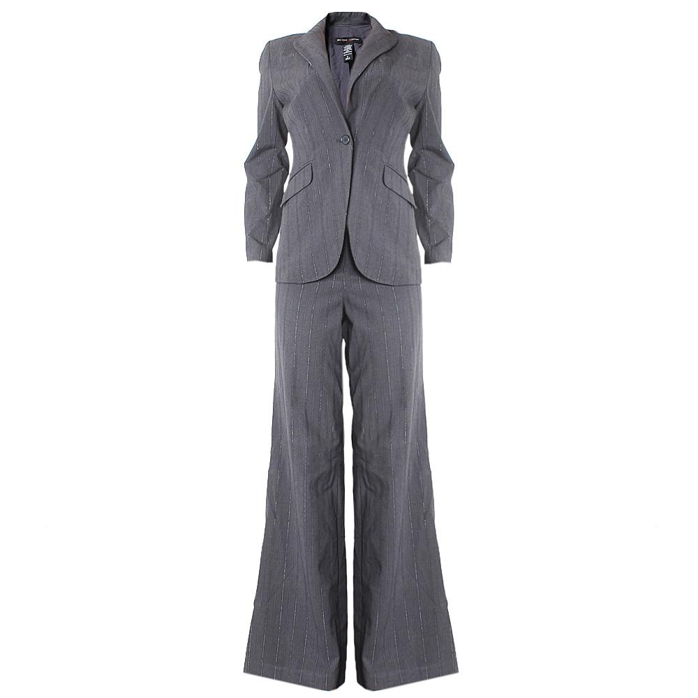 Newyork  &  Company Gray Stripe Ladies Trouser Suit Sz 4