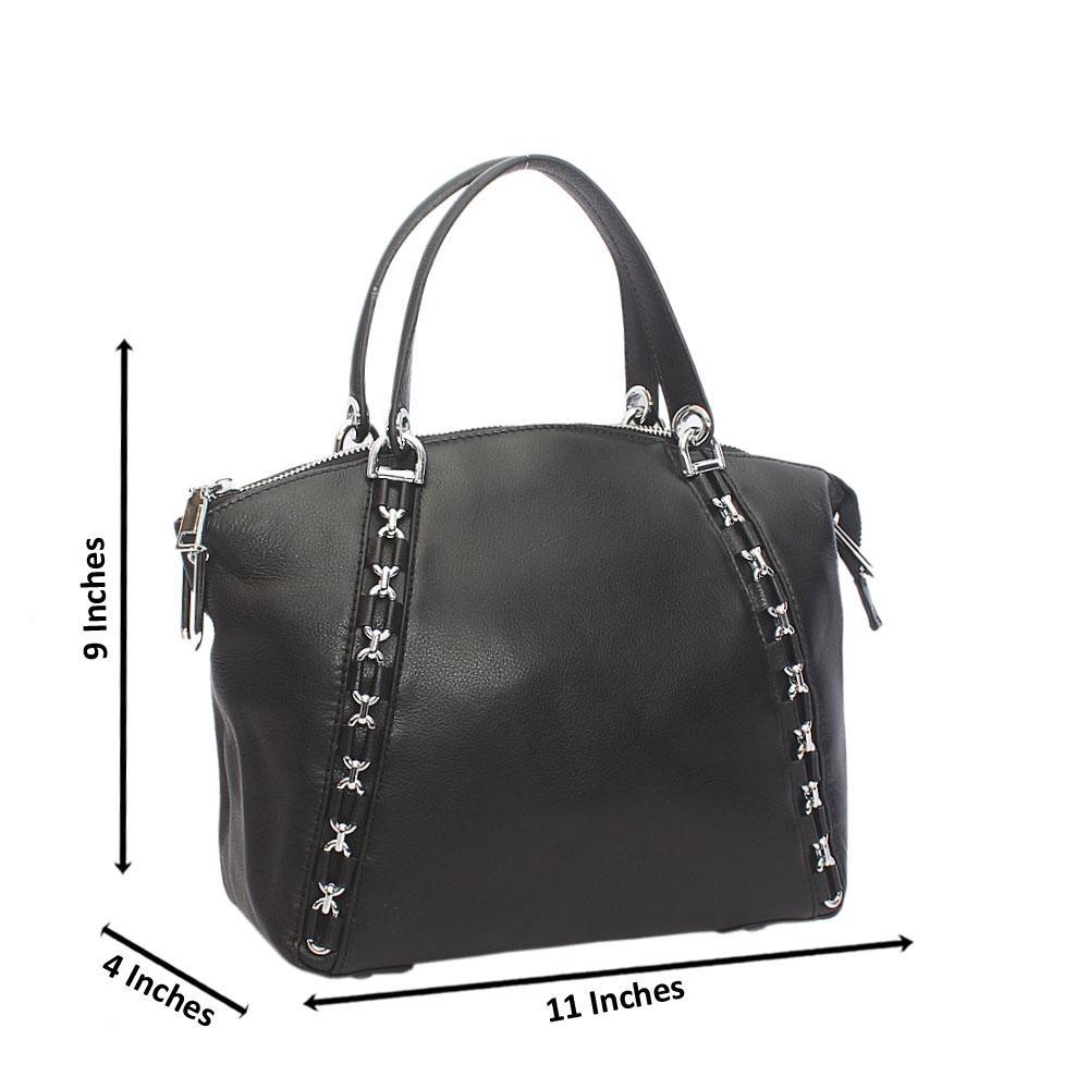 Black Metal Inverse Sarno Leather Handbag