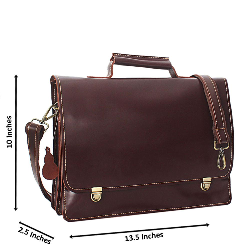 Coffee Smooth Leather Briefcase