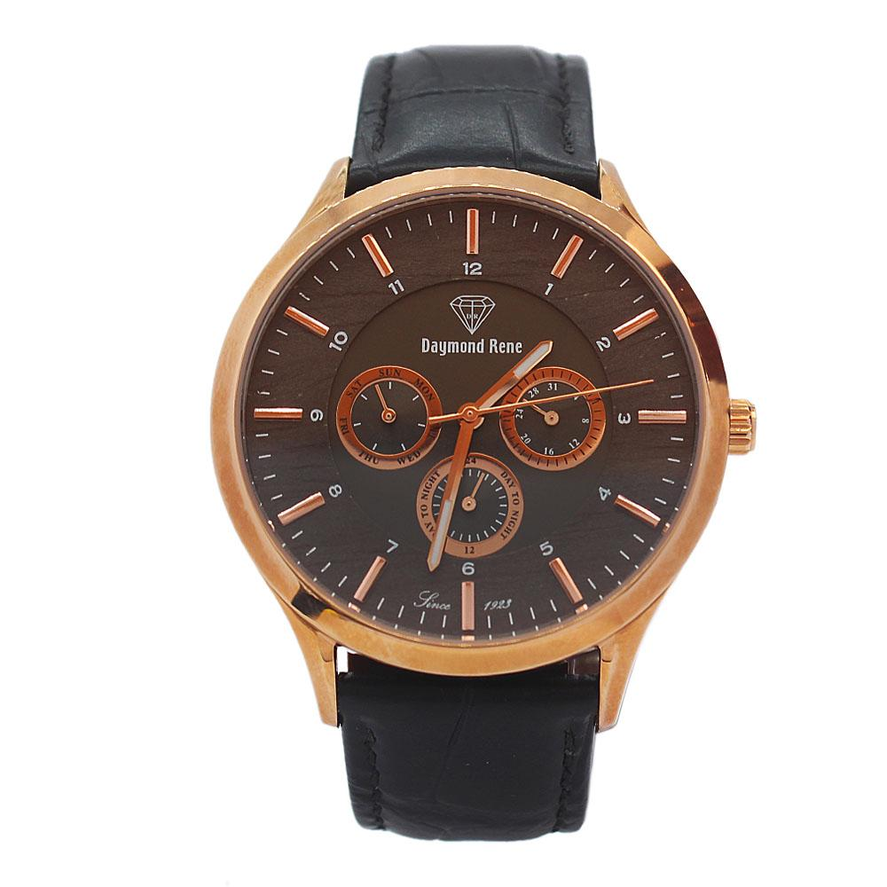 Gold Black Leather Flat Chronograph Watch