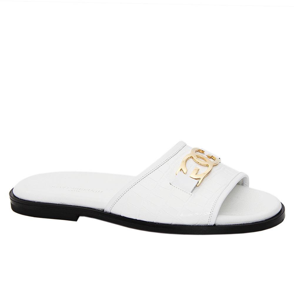 White Cesarino Italian Leather Slippers