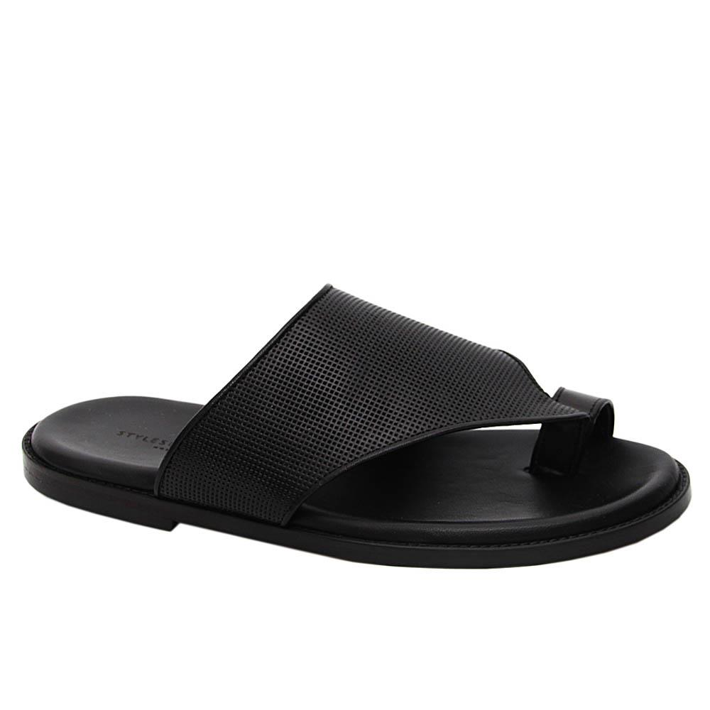 Black Jordan Smith Italian Leather Slippers