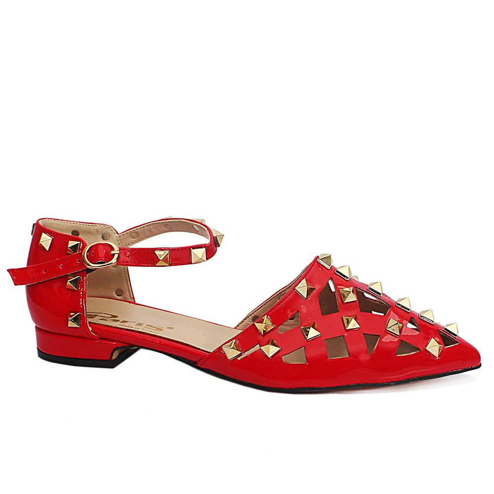 Red  Studded Perforated Leather Ladies Flat Shoe