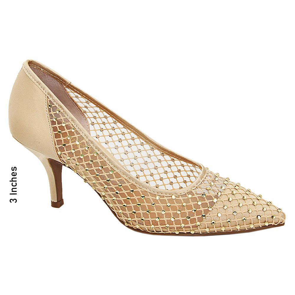 Gold Gretchen Studded Satin Fabric High Heel Pumps