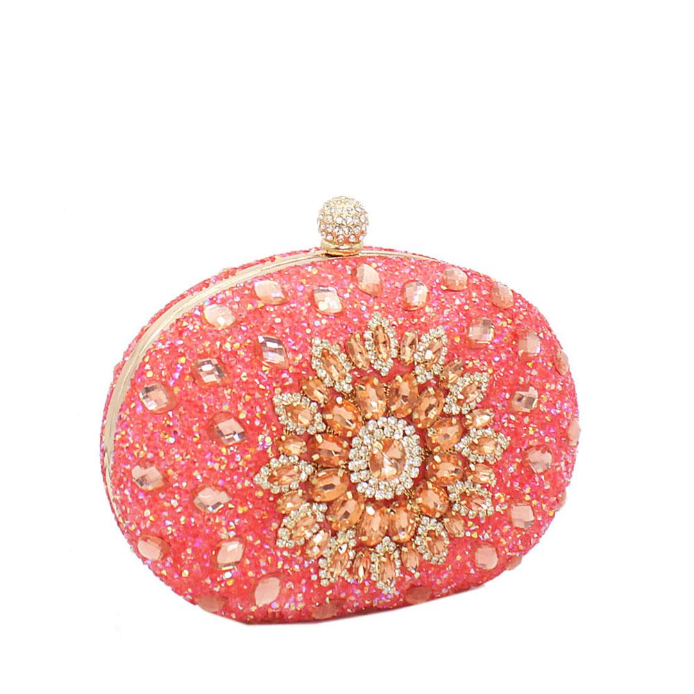 Coral Peach Prima De Rose Studded Clutch Purse