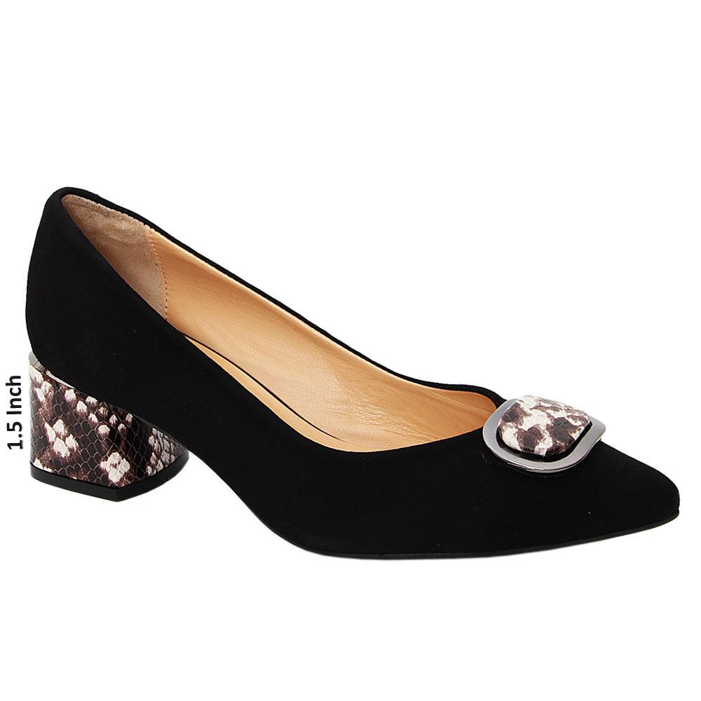 Black Jessica Suede Tuscany Leather Mid Heel Pumps