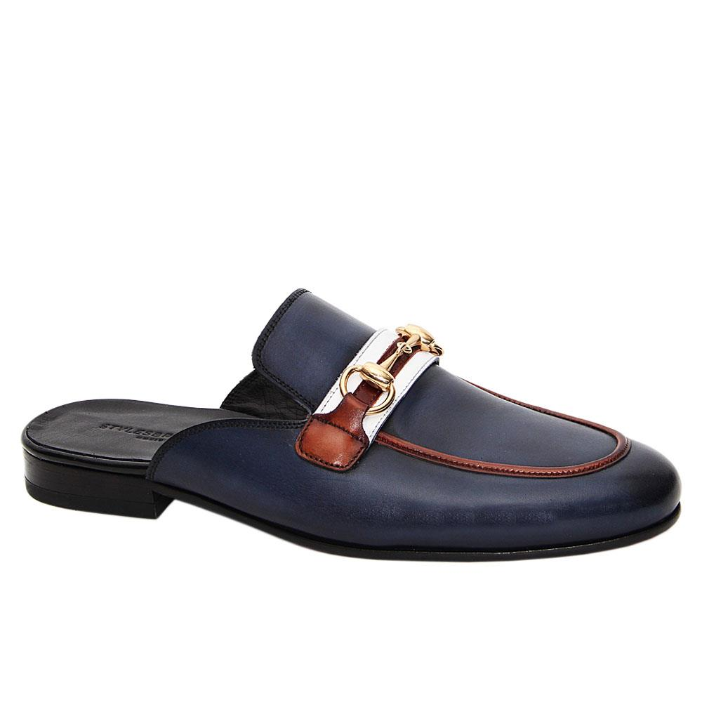 Navy Blue Romolo Italian Leather Half Shoe