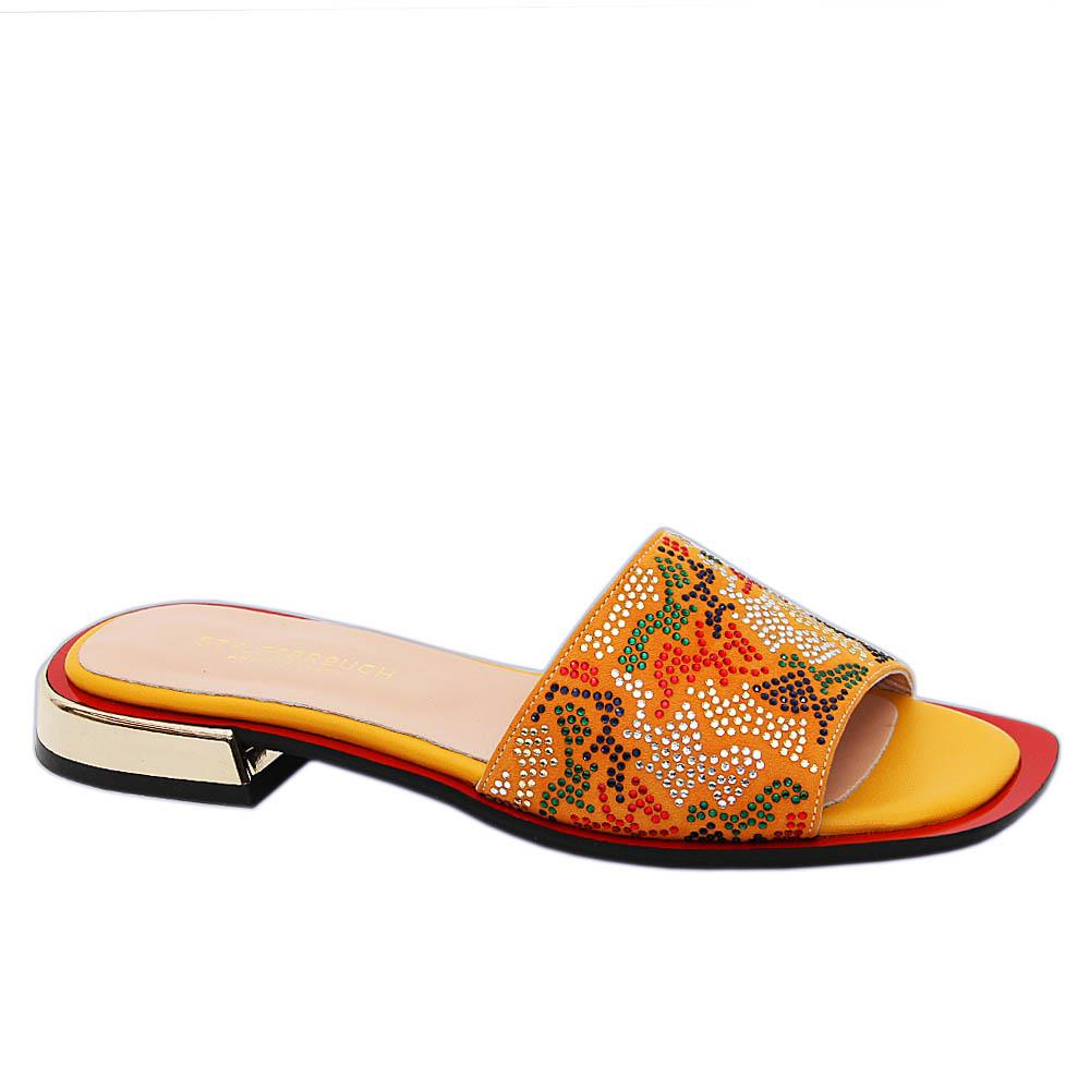 Yellow Elisa Studded Suede Tuscany Leather Low Heel Slippers