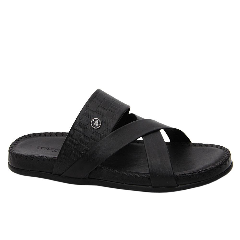 Black Bruno Italian Leather Comfort Sole Slippers