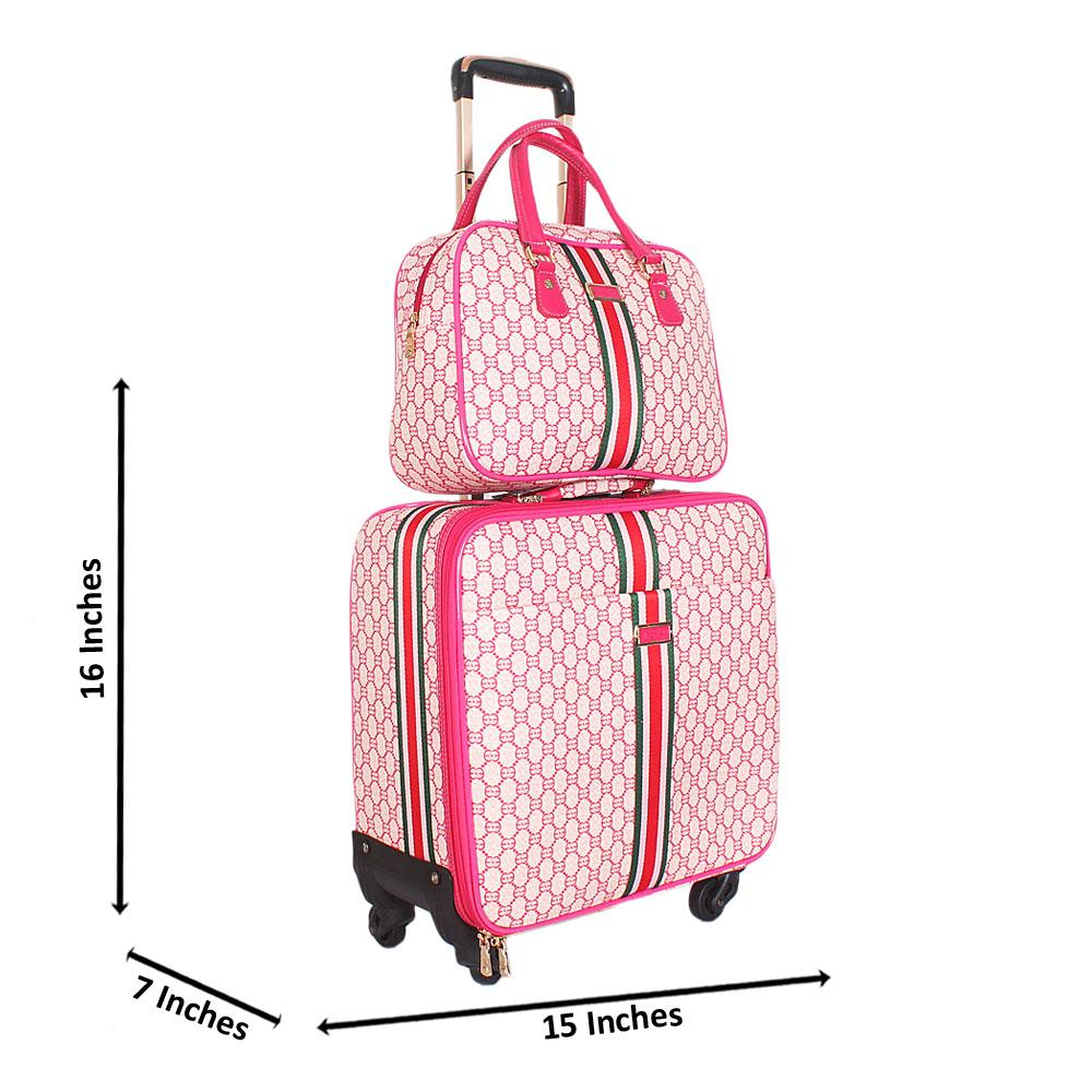 Pink 16 Inch Leather 2 in 1 Pilot Suitcase Wt Lock
