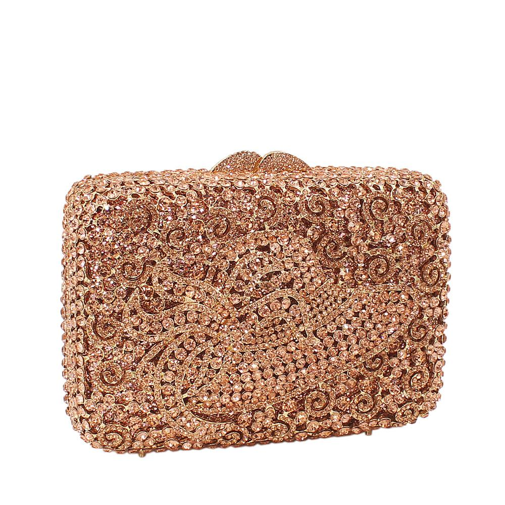 Rose Gold Hat Diamante Crystals Clutch Purse