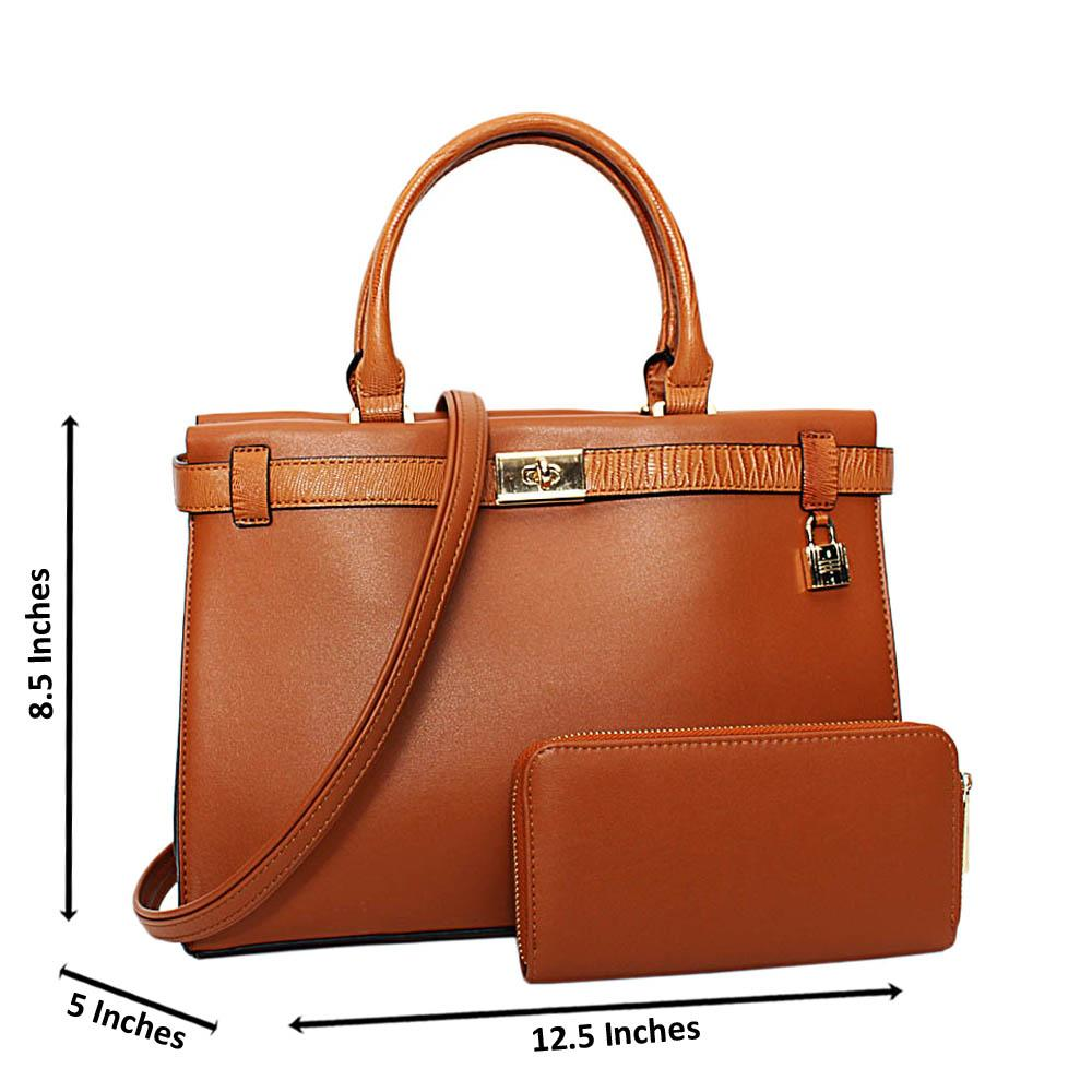 Brown Bridgette Leather Medium Tote Handbag