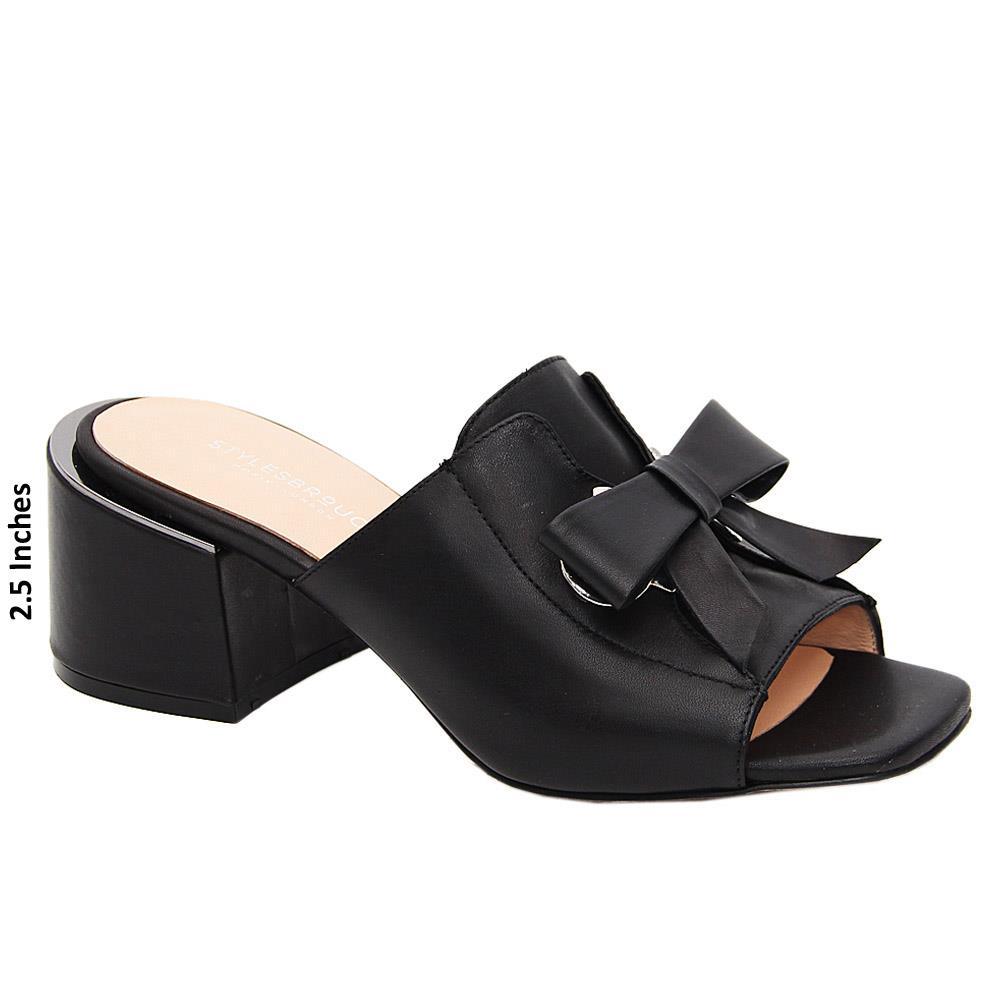 Black Nevaeh Tuscany Leather Mid Heel Mule