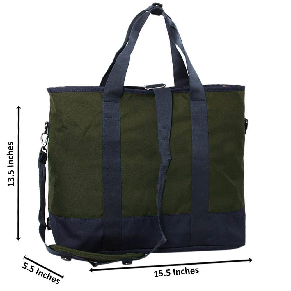 Navy Army Green Fabric Tote Man Bag