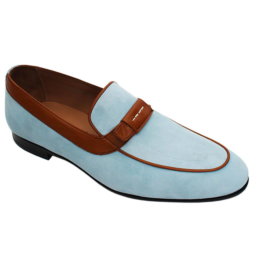 Aqua Blue Romeo Suede Italian Leather Men Loafers