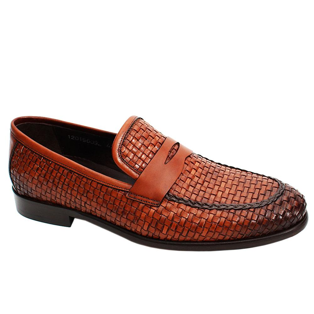 Brown Orgu Woven Italian Leather Men Penny Loafers