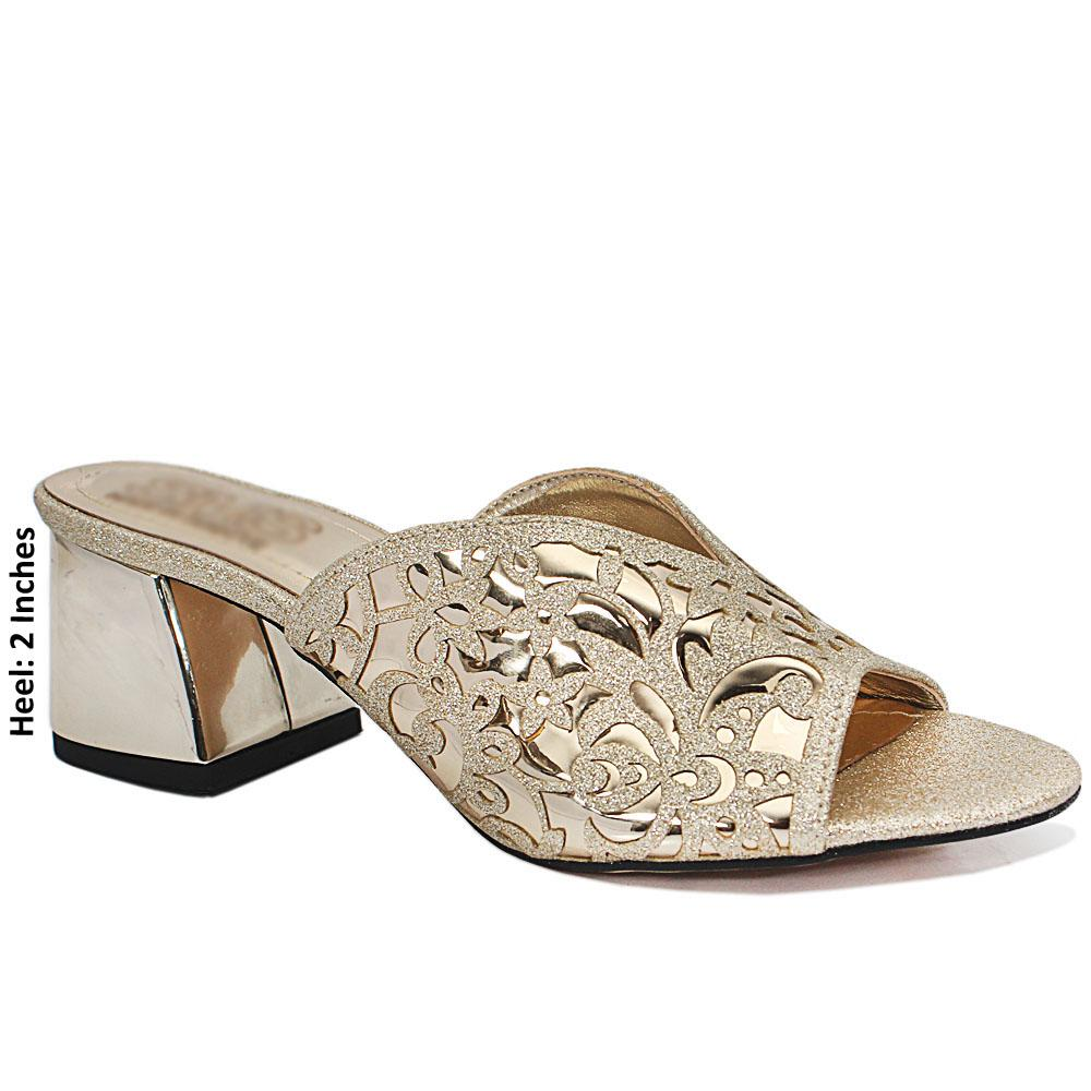 Gold Floral Shimmering Leather Mule