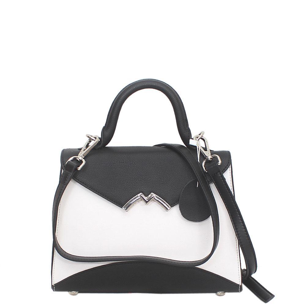 Buy Black-White-Leather-Mini-Handle-Bag - The Bag Shop Nigeria