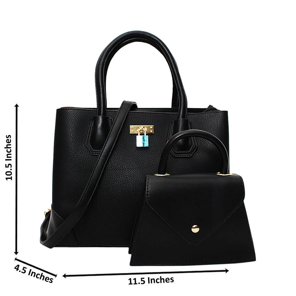 Black Natalie Leather Medium 2 in 1 Tote Handbag