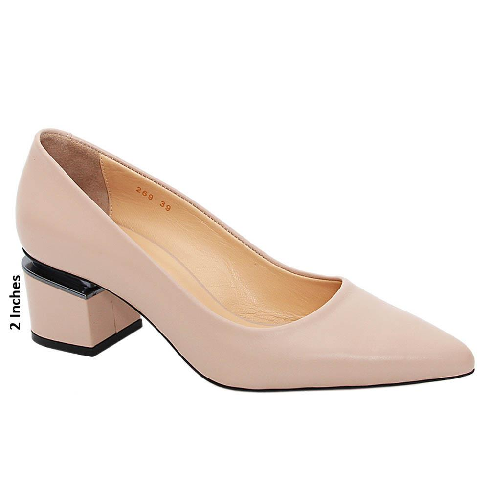 Beige Madelyn Tuscany Leather Mid Heel Pumps