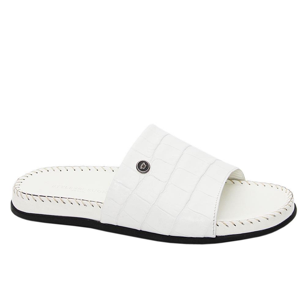 White Terzo Italian Leather Comfort Sole Slippers