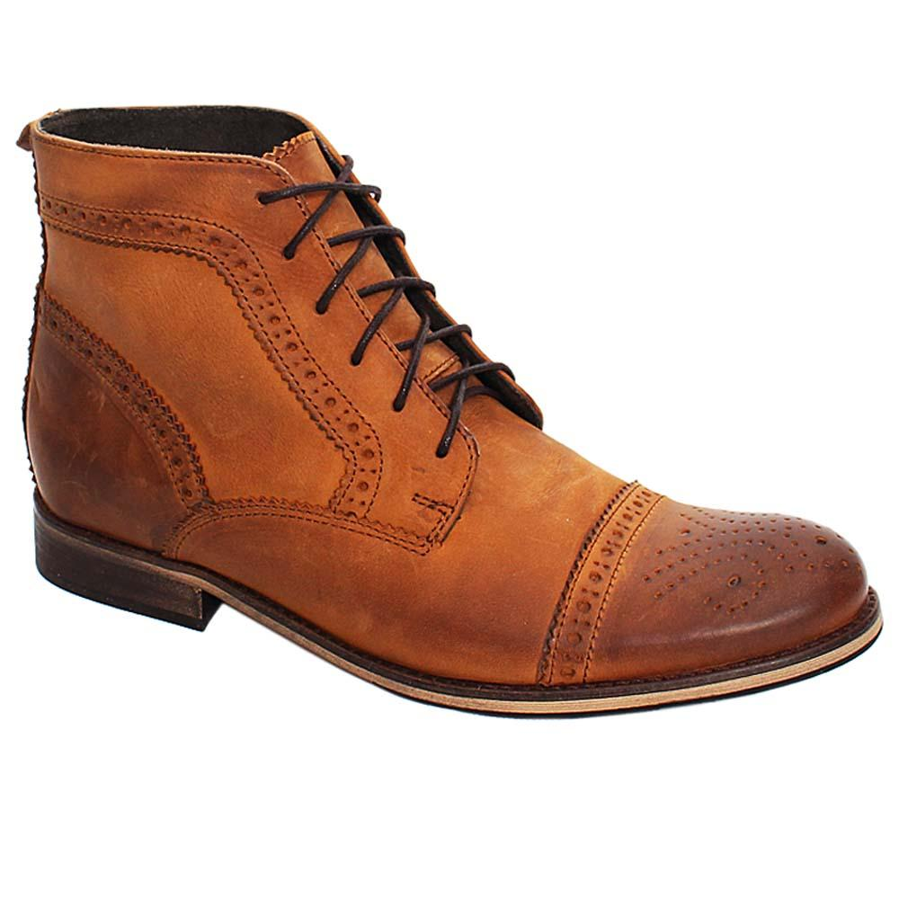 Brown Damian Leather Men Brogue Boot