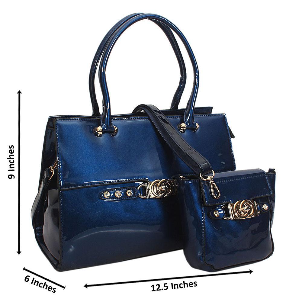 Britney Blue Patent Studded Leather Tote Handbag Wt Purse
