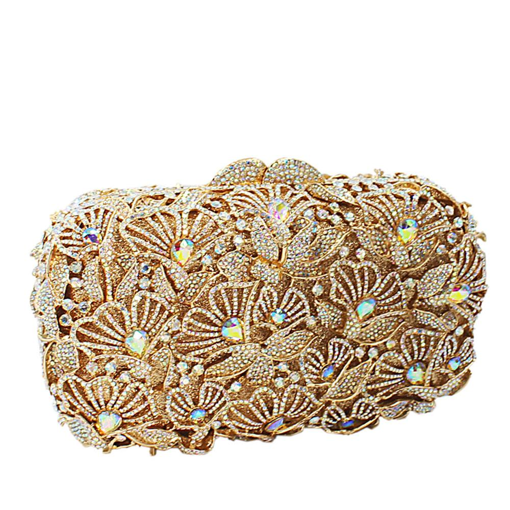 Gold Diamante Crystal Clutch Purse