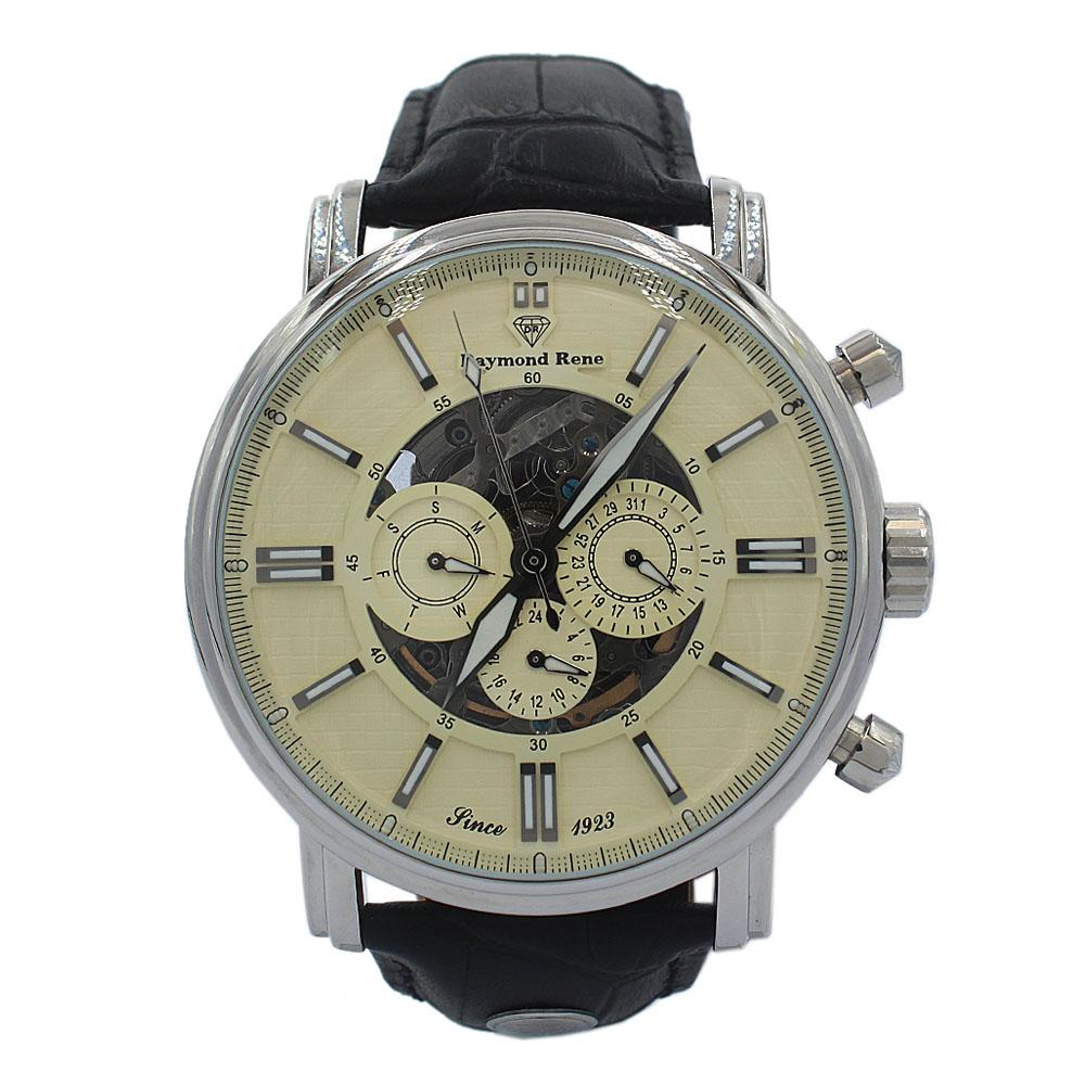 Silver Black Leather Skeletal Automatic Watch