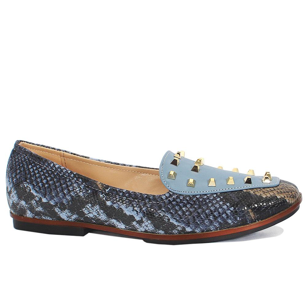 Blue Snake Skin Studded Leather Flat Shoes