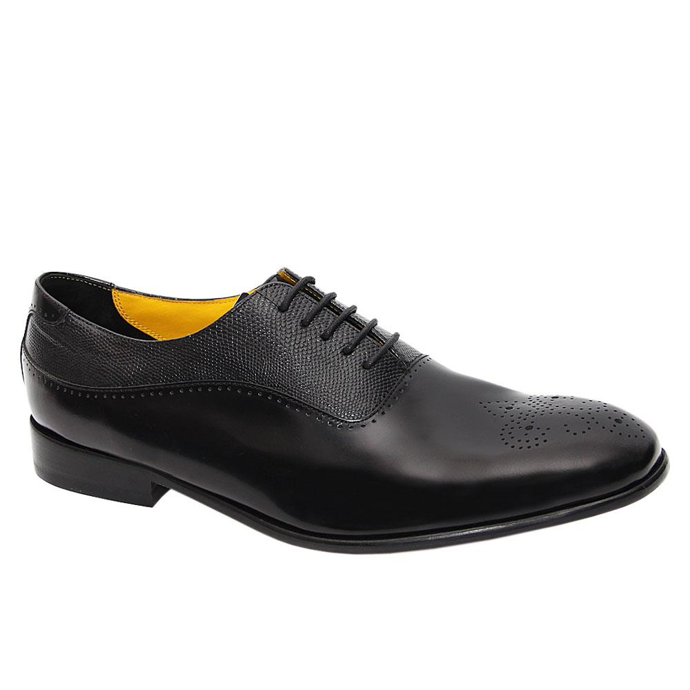 Black Jeffery West Leather Men Oxford Shoes