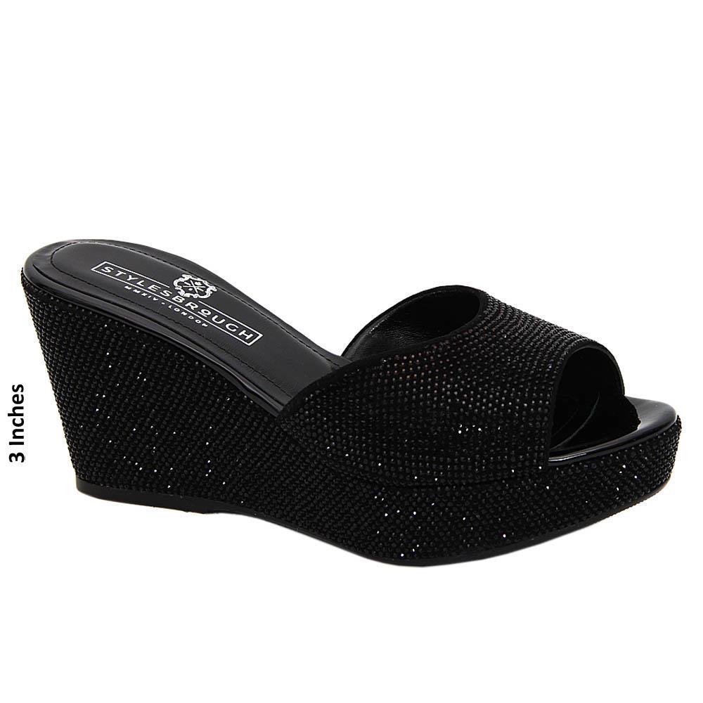 Black Janelle Studded Italian Leather Wedge
