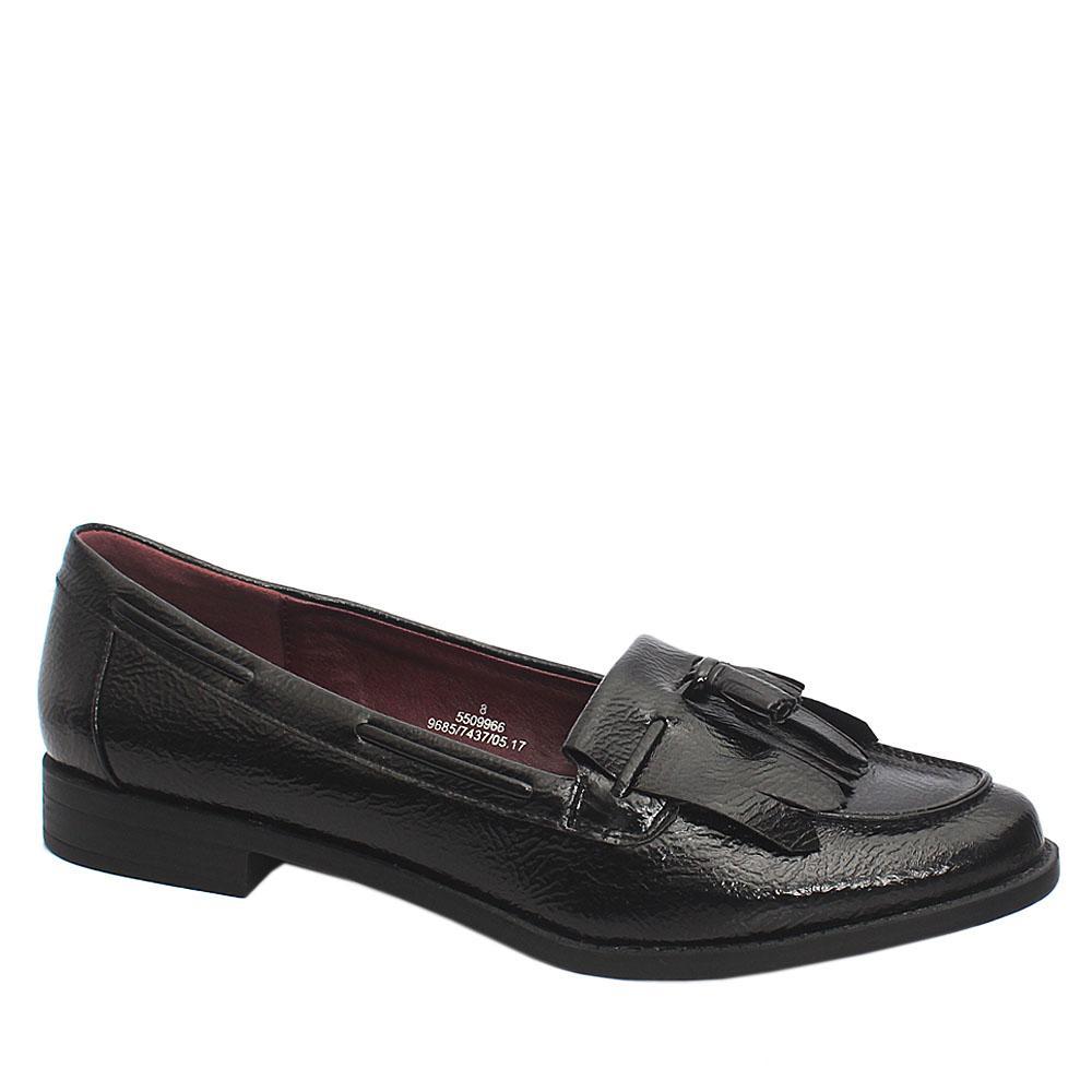 Sz 42 M & S Insolia Flex Black Patent Leather Ladies Shoe