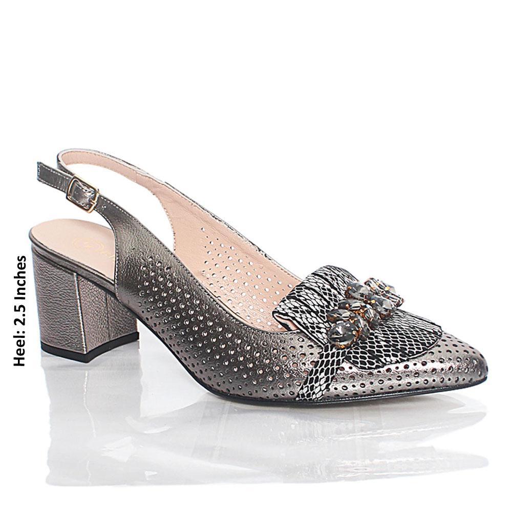 Metallic Gray Ashford Crystals Italian Leather Slingback Heel