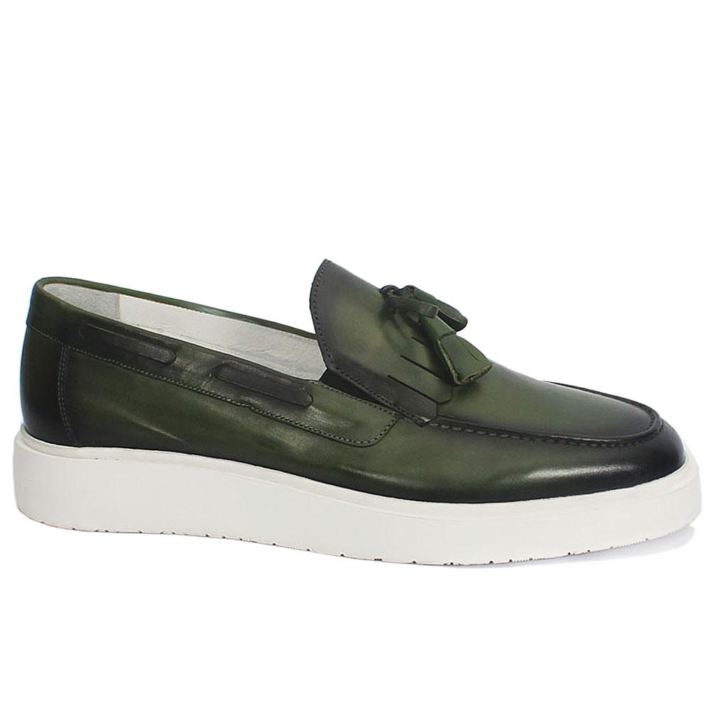 Sabatini Green Leather Slipon Shoe