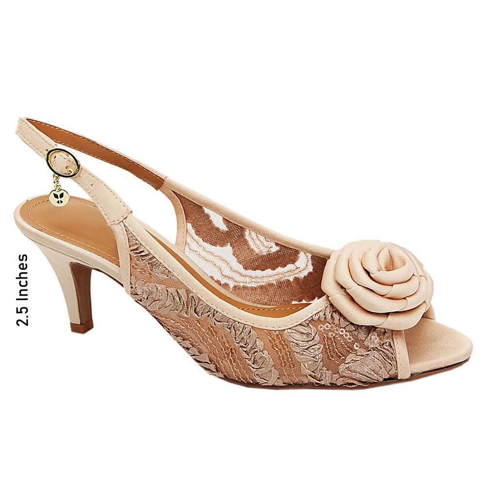 Gold Karen Rose Satin Fabric Slingback Mid Heel Sandals