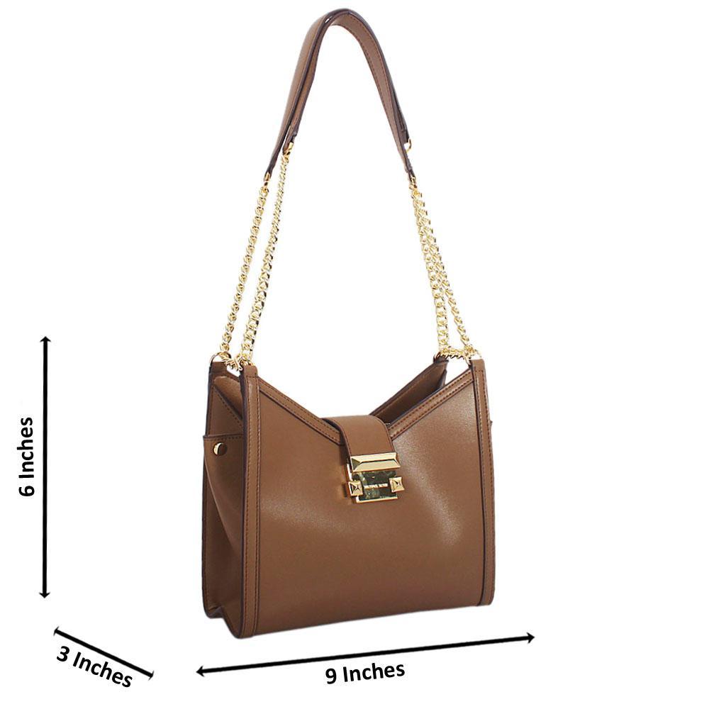 Brown-Perlita-Leather-Long-Chain-Strap-Small-Shoulder-Handbag