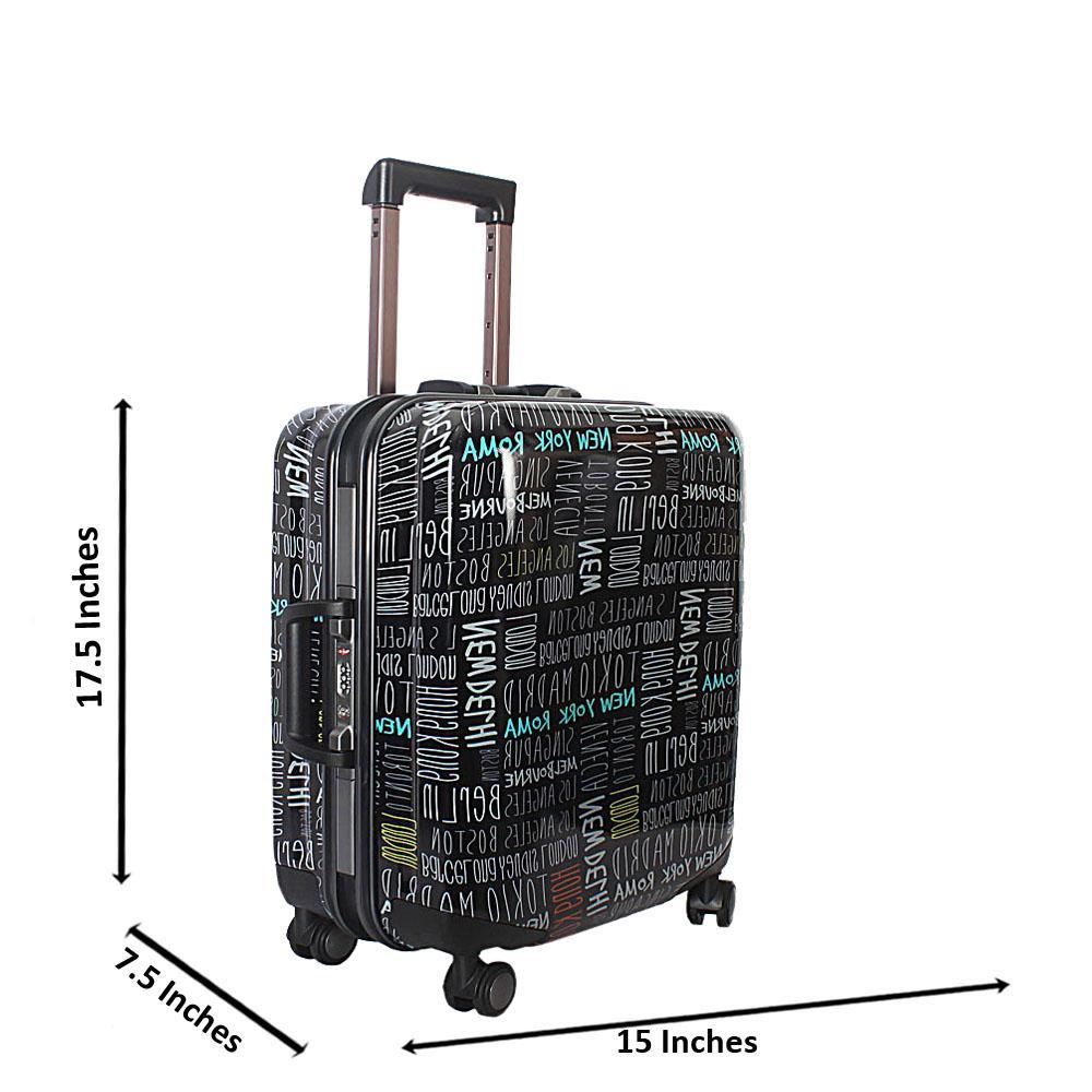 Black 19 Inch Graphic Print Hardshell Carry On Luggage Wt TSA Lock