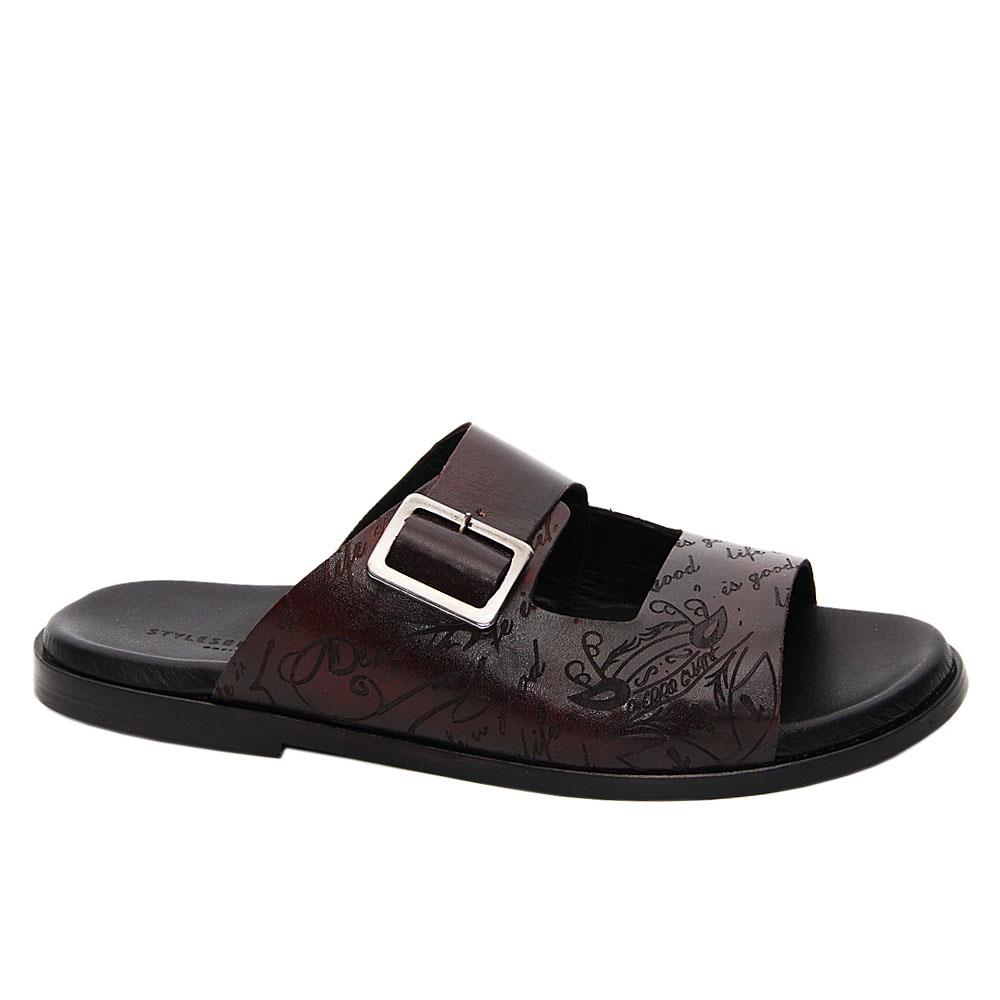 Dark Coffee Julio Caesar Italian Leather Slippers
