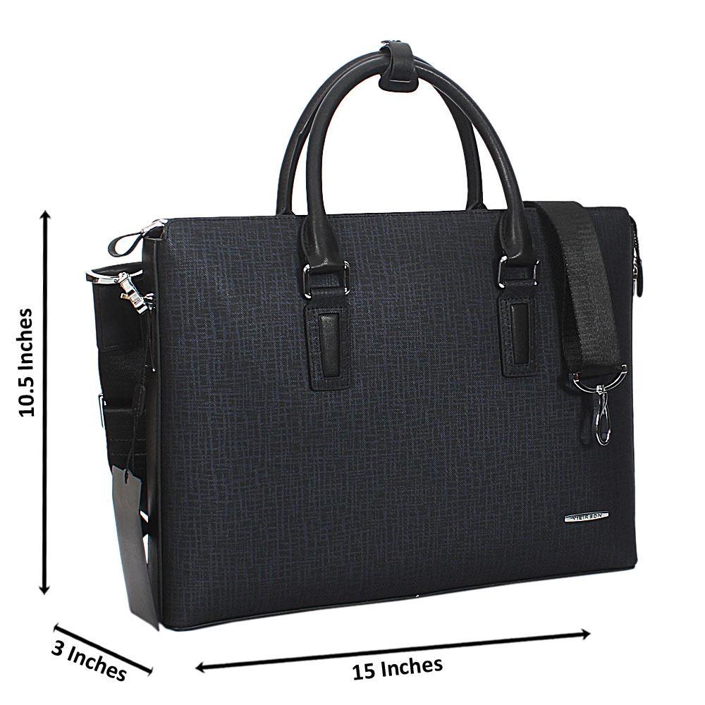 Navy-Tweed-Cowhide-Leather-Briefcase