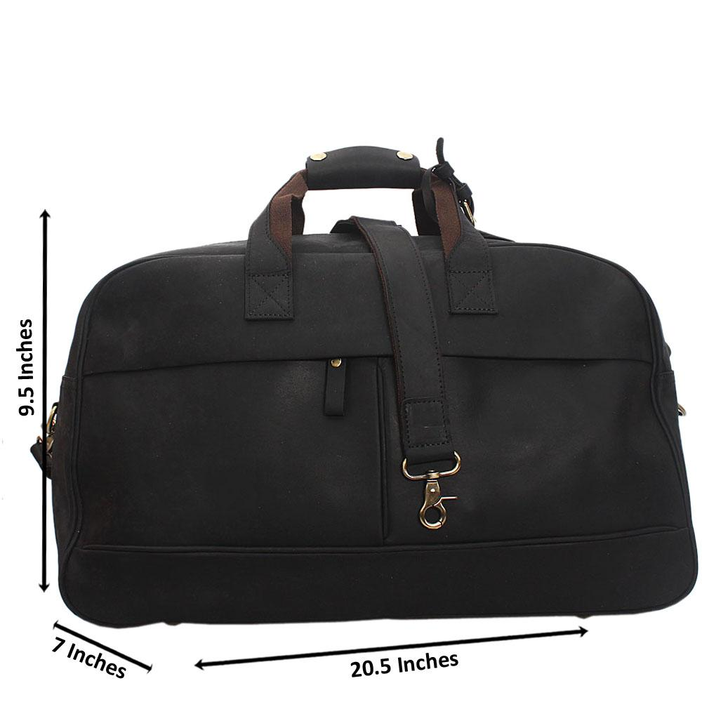 Black Cowhide Leather Duffel Bag