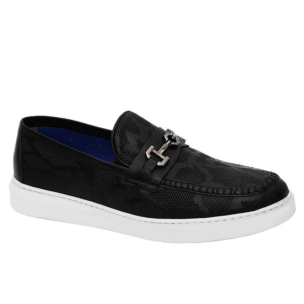 Black Cassio Italian Leather Breathable Slip-On Sneakers