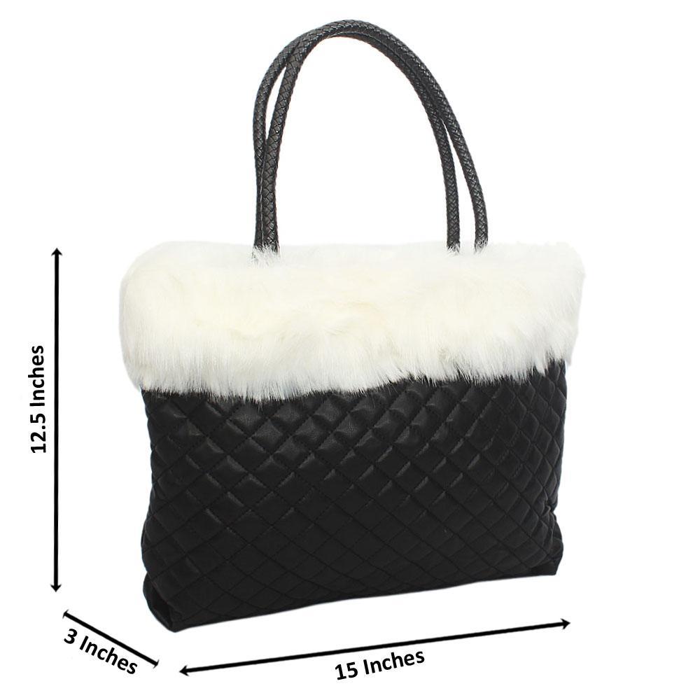 Black Molly White Fury Tuscany Leather Shoulder Handbag