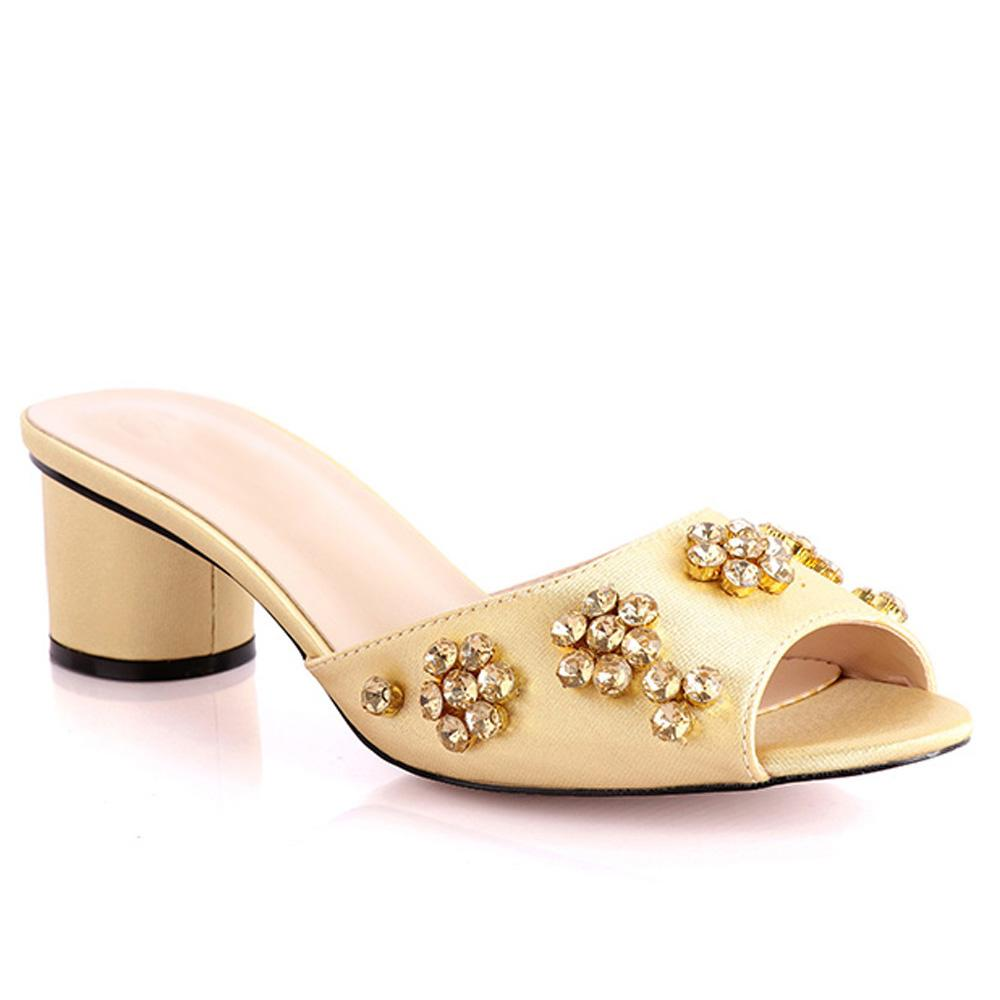 Gold Fontana Studded Leather Low Heel Slippers