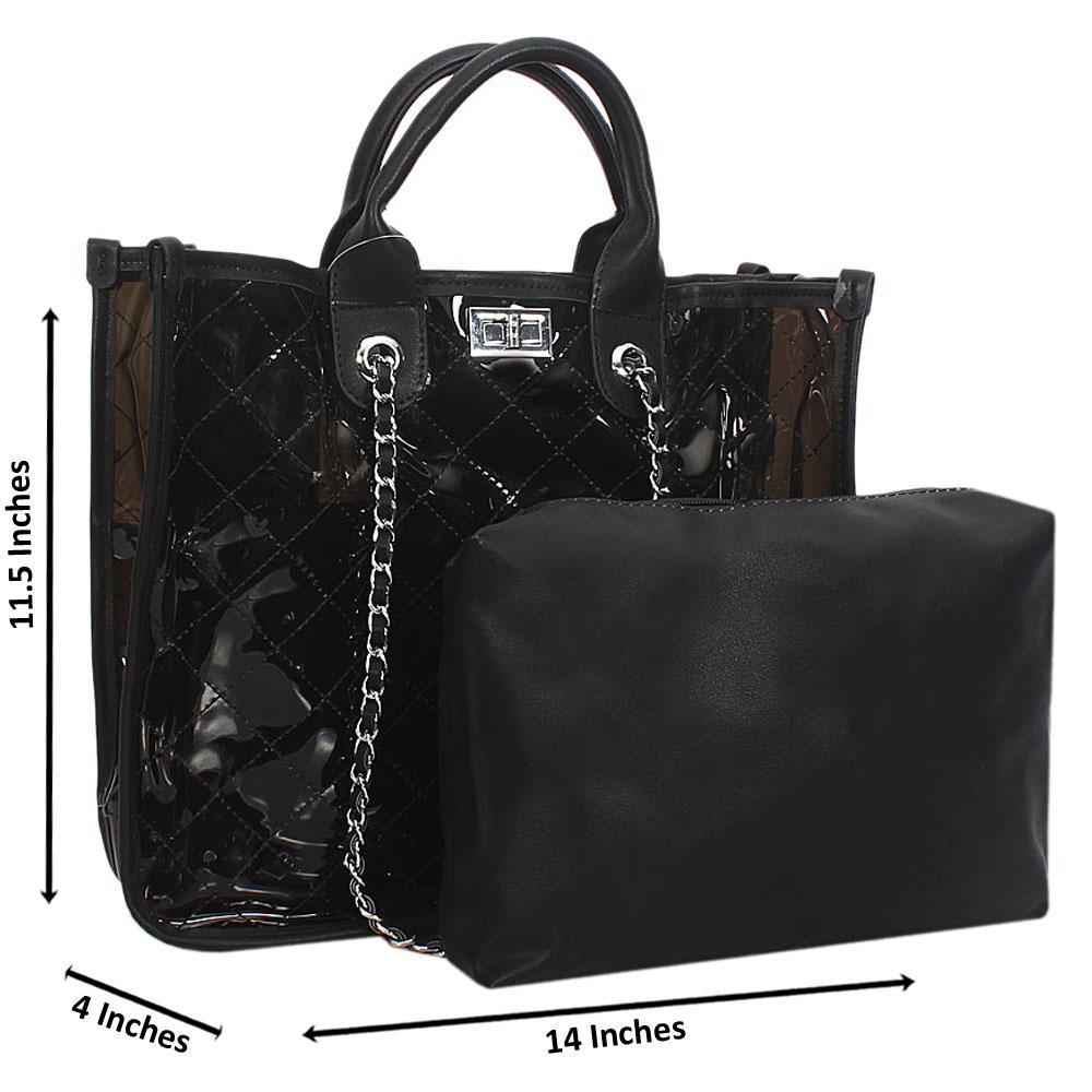 Black Morgan Transparent Rubber Leather Tote Handbag